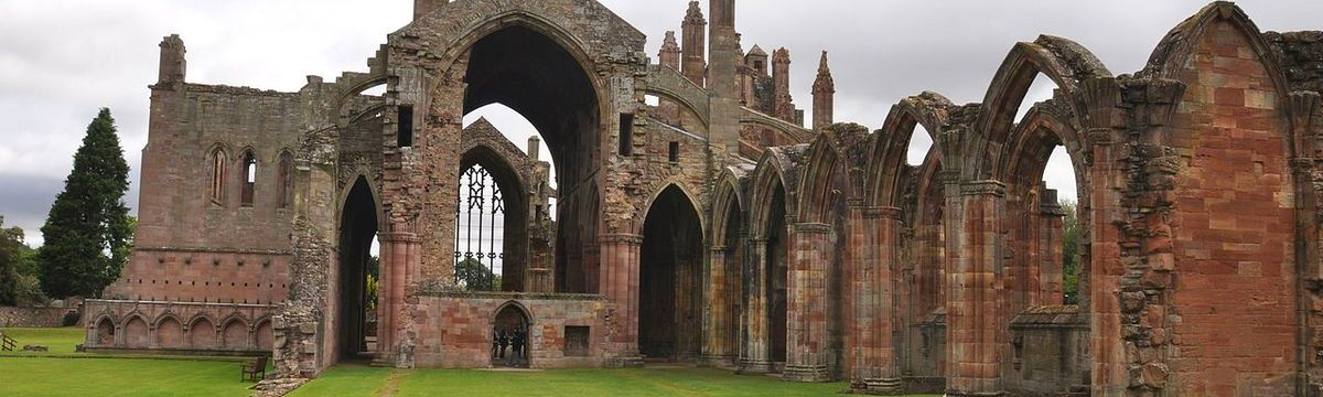 Melrose Abbey at the start of St Cuthbert's Way